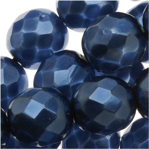 Czech Fire Polished Glass Beads 8mm Round Full Pearlized - Navy Blue (25) (Glass Bead Oven compare prices)