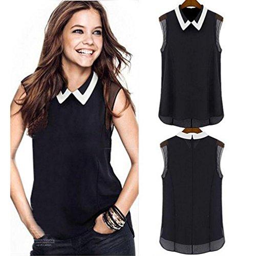 Oyedens Women Summer Loose Casual Chiffon Sleeveless Vest Blouse Shirt Tops (M, Black)