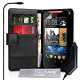 Yousave Accessories HTC Desire 310 Case Black PU Leather Wallet Cover With Car Charger
