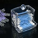 Storage Box Clear Acrylic Q-tip Holder Box Cotton Swabs Stick Storage Cosmetic Makeup Case