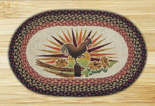 Earth Rugs 65-019R Rooster Oval Patch