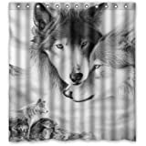 """Generic Personalized Wolf Love Fantastic Wild Animal Sketch Style Wolf Love Fantastic Wild Animal Sketch Style Sold By Too Amazing Shower Curtain Bath Decor Curtain 66 """" x 72 """""""
