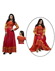 Raagbydeepa Stitched Anarkali Orange Kurta And Churidar Set For Women - B016ZPUOQ8