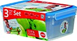 Emsa 'Gesunde Frische' (Healthy Freshness) 3-Piece Clip&Close Food Container Set with 1 / 2.3 / 3.7 L