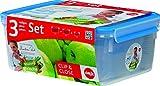 Emsa 508567 Frischhaltedose Clip & Close 3er Set, 1,00 / 2,30 / 3,70 Liter (100% dicht, gefriergeeignet, sp�lmaschinenfest, mikrowellengeeignet, BPA frei, Babycare zertifiziert, Material: TPE/PP, Made in Germany)