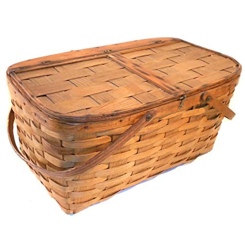 Great Old Vintage Primitive Oak Woven Oak Splint Picnic Basket