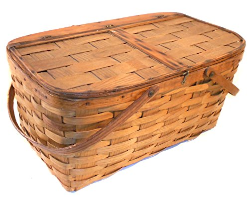 Great Old Vintage Primitive Oak Woven Oak Splint Picnic Basket 0