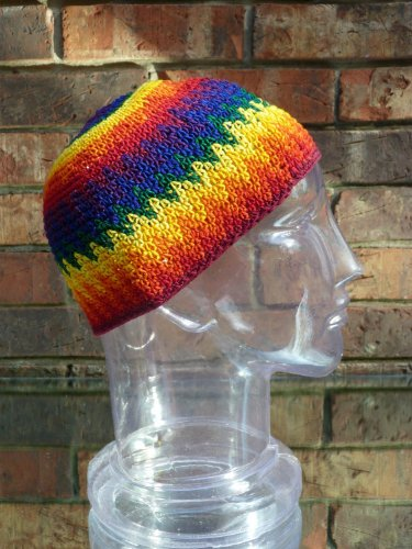 Medium Size Skull Cap Beanie Rainbow Hand Made 100% Cotton Crochet Knit Hat front-459352