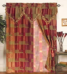 MOROCCAN TAPESTRY Curtain Set w/ Valance/Sheer/Tassels
