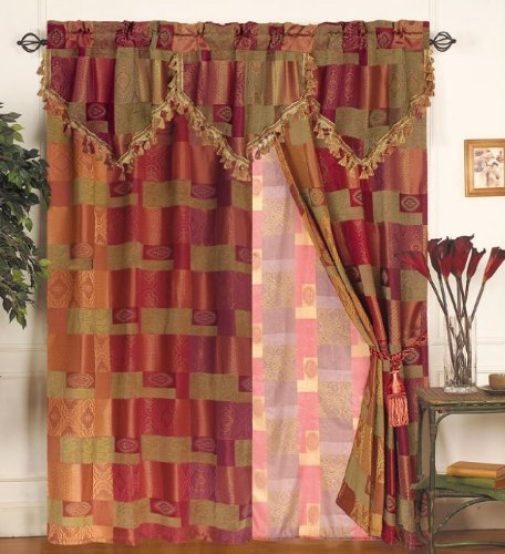 paisley drapes moroccan tapestry curtain set w valance sheer tassels