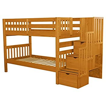 Bedz King Stairway Bunk Bed Twin over Twin with 3 Drawers in the Steps, Honey