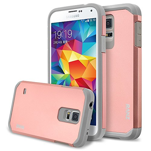 Galaxy S5 Mini Case, RANZ Grey with Rose Gold Hard Impact Dual Layer Shockproof Bumper Case For Samsung Galaxy S5 Mini(SM-G800) (Galaxy S5 Mini Case compare prices)