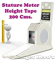 Gadget Hero's Height Measuring Scale Tape Measure Stature Meter 200cms=78inch/2M Wall Mounted. Ideal For Home, Office, School Or Doctors Clinic. White