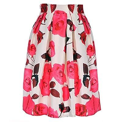 Yonala Women's Elegant Retro Floral Printed Casual Party Pleated Midi Skirt