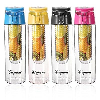 ELEGIANT 800mL Mode BPA freie Kunststoff Sportflasche Trinkflasche Flasche Fahrradflasche Bottle Infusion Infuser Transparenz mit Filter fuer Obstzusätze Getränk Fruit Juice