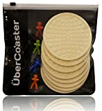 Coasters for Drinks - Super Absorbent Silicone 8 Pc. Set for Max Protection, Incl. Limited Time Wine Glass Charms Bonus