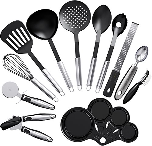 Vremi 15 Piece Kitchen Gadgets and Tools Set w/ Nonstick Cooking Utensils and Collapsible Measuring Cups - Spatula Slotted Serving Spoons Can Opener Whisk Peeler Grater Pizza Cutter Ice Cream Scoop (Clip Spout Lid compare prices)