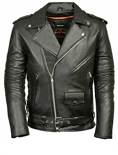 MILWAUKEE LEATHER Men's Classic Side Lace Police  Style Motorcycle Jacket (SH1011