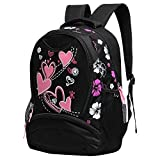 Hynes Eagle Girl s Lightweight Polyester Cute Sweetheart Patterns Back to School Backpacks (Black)