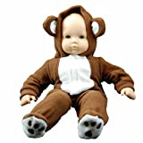 """15"""" Doll Clothes for American Girl Bitty Baby & Bitty Twins, Soft Teddy Bear Cub Sleeper Pajamas Romper Costumer. Soft Fleece with Velcro. Safety Tested Packaged in Reusable Garment Bag & Hanger!"""