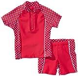 Playshoes Unisex - Kinder Sweatshirt, gepunktet UV-Schutz nach Standard 801 und Oeko-Tex Standard 100 Bade-Set 2 tlg. in rot mit weißen Punkten 461032, Gr. 116, Rot(8 rot)
