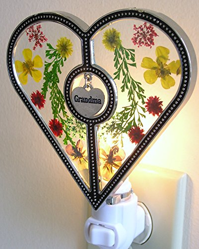 Grandma Heart Night Light - Grandma Charm Hanging from this Glass Heart with Pressed Flowers - Decorative Night Lights - Grandma Gifts - Night Lights (Pressed From compare prices)
