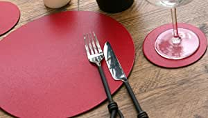 Set of 4 Round Red Leatherboard Placemats & 4 Coasters (8 Piece Set)