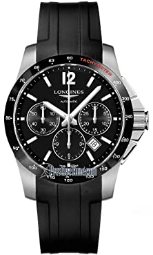 buy Longines Conquest Black Dial Chronograph Black Rubber Mens Watch L27444562