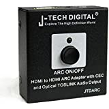 J-Tech Digital HDMI To HDMI ARC Adapter With CEC And Optical TOSLINK Audio Output HDMI ARC Audio Adapter Audio Extractor For Home Theater Application Support 4K Support CEC Function