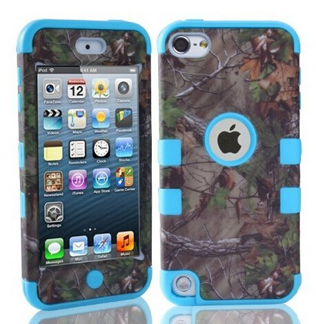 For ipod Touch 5 Case - KeckoTM Defender Dual Layer Realtree Camo Pink Tree Mossy High Impact Shockproof Tough Silicon Rugged Armor Hybrid Fit Case for ipod Touch 5th Generation Only--Camouflage Tree Leaves on the Core--for Boys Girls Bird Light Blue