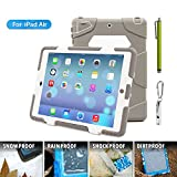 ACEGUARDER Apple Ipad Air Ipad 5 Case Waterproof Rainproof Shockproof Kids Proof Case for Ipad 5 (Gifts Outdoor Carabiner + Whistle + Handwritten Touch Pen) (Aceguarder Brand) (WHITE/GRAY)