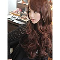 斜め 前髪 ゆるふわ ロング カール 巻き髪 耐熱 フル ウィッグ ネット スタンド セット オリジナル ヘアゴム 付(MAUMU) (ブラック)4003
