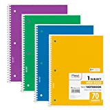 Mead Spiral Notebook 1-Subject, 70-Count, Wide Ruled, COLOR WILL VARY, 4 Pack (72873)
