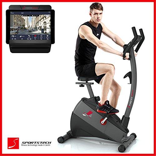 Sportstech ergometro Cyclette EX500 con controllo attraverso un'app per smartphone + Google Street View, inerzia di 12 KG - compatibile con cintura polso - con sistema di trasmissione a cinghia a basso rumored