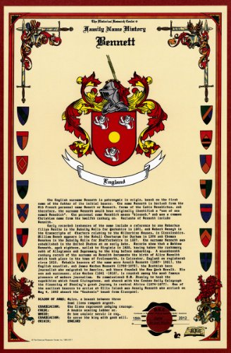 Bennett Coat Of Arms/Crest And Family Name History, Meaning & Origin Plus Genealogy/Family Tree Research Aid To Help Find Clues To Ancestry, Roots, Namesakes And Ancestors Plus Many Other Surnames At The Historical Research Center Store front-918707