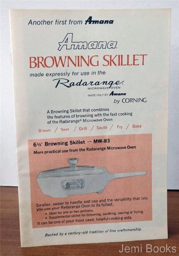 Amana Browing Skillet Made Expressly For Use In The Radarange Microwave Oven Made Only By Amana (Part No. A32247-1)
