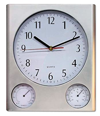Poolmaster 52602 ABS Outdoor Clock, Thermometer and Hygrometer Combo, Silver Finish by Poolmaster