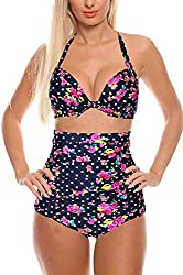Ekouaer 2 Piece Swimsuit Hater Padded Push up Sexy Bikini Set Swimwear Bathing Suit