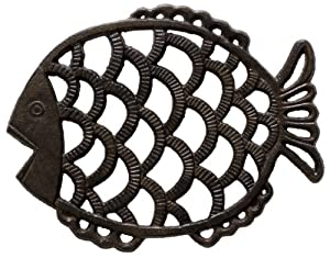 Cast Iron Trivet - Fish (Unique, Hand-crafted, Recycled; for Kitchen and Cooking) by Comfify