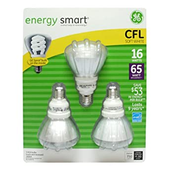 GE Soft White Light Bulbs - 3/15 Watt Bulbs (28909,FLE15/2/R30/SW/CD)cfl energy saving