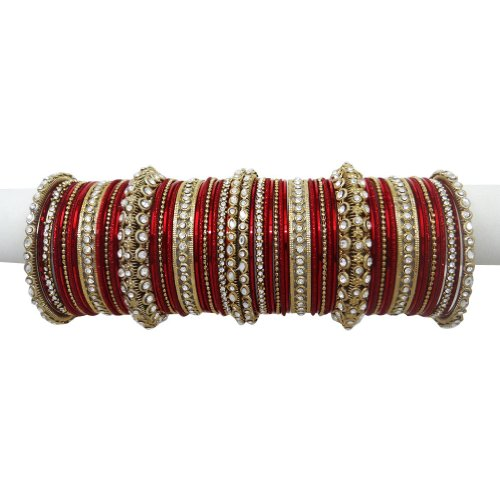 Red Gold Tone CZ Bangle Bracelet Set Indian Party Wear Costume jewellery Gift SIZE 2*10
