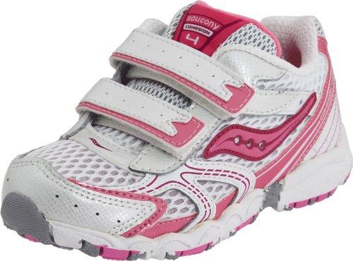Saucony Cohesion 4 H&L Running Shoe (Little Kid/Big Kid),White/Azalea,5.5 M Us Big Kid