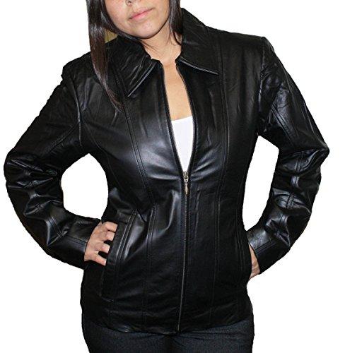 Women genuine soft cow hide leather short zipper closure leather Jacket_Black_Medium