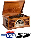 Wooden Retro Turntable with SD Card