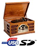 Wooden Retro Turntable 3 Speed Record Player AM/FM Radio CD, w/ USB & SD Interface for MP3 Playback - (Beech)