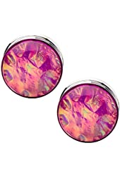 """Pink Foil Surgical Steel Double Flare Plugs - 4G-1"""" - Pair"""