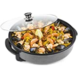 Andrew James 1500 Watt Multi Cooker With Glass Lid -2 YEAR WARRANTY - Large 42cm Diameter - Non- Stick Surface - Cool Touch Handles