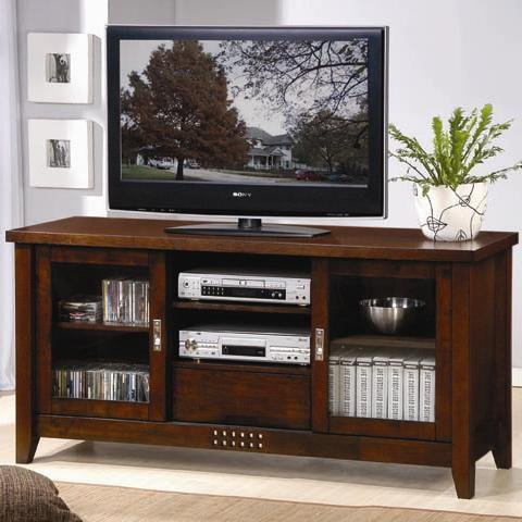 TV Stand Traditional Media Cosole with Doors and Shelves