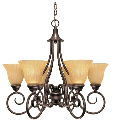 Nuvo Lighting 60/010 Moulan 6-Light Chandelier with Fluted Cream Bell Shades, Copper Bronze