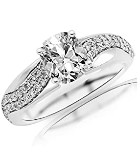 1.02 Carat Cushion Cut / Shape 14K White Gold Two Rows Of Pave-set Round Diamond Engagement Ring ( F-G Color , SI2 Clarity )